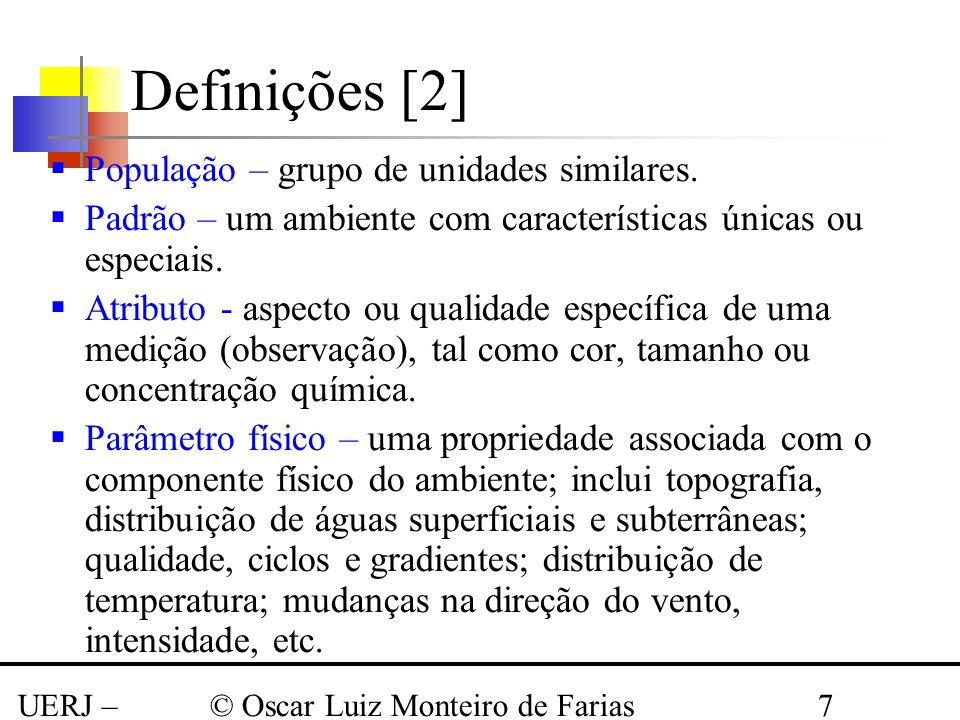 Definições [2] População – grupo de unidades similares.